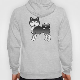Black And White Alaskan Malamute Dog Cute Cartoon Illustration Hoody