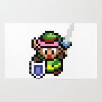 the legend of zelda Area & Throw Rugs featuring Legend of Zelda - Link by Nerd Stuff