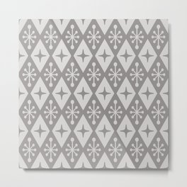 Mid Century Modern Atomic Triangle Pattern 711 Gray Metal Print