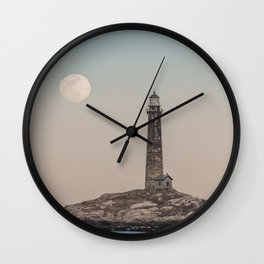 Pink moon rising over Thacher Island Wall Clock