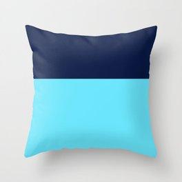 Two Blues Minimalist Color Block in Bright Turquoise and Navy Blue Throw Pillow