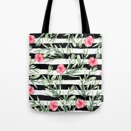 Delicate Hibiscus On Stripes Tote Bag