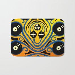 DJ Octopus in blue Bath Mat