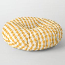 Pumpkin Orange and White Gingham Check Floor Pillow