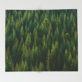 The Green Forest (Color) Throw Blanket
