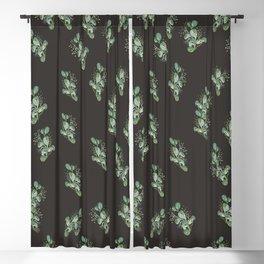 Eucalyptus Sprig on Black Blackout Curtain