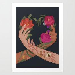 Heart Hands Blue Art Print