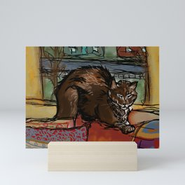 Brown Cat Nap Mini Art Print