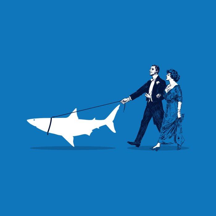 Walking the Shark Duvet Cover