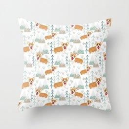 happy corgis climbing in the mountains  Throw Pillow