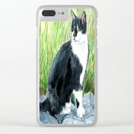 Louie the Tuxedo Cat Clear iPhone Case