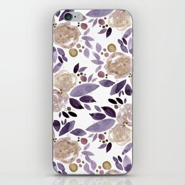 Abstract watercolor roses - ultra violet and beige iPhone Skin