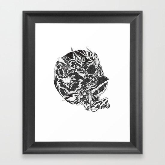 Skull Moustache Framed Art Print
