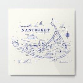 Nantucket Map Metal Print