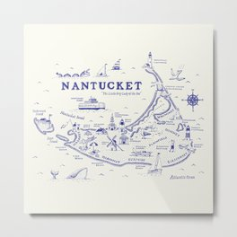 Nantucket Map Metal Print