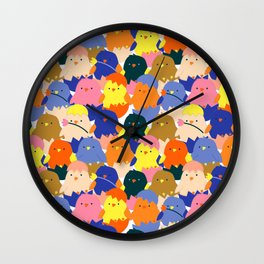 Colored Baby Chickens pattern Wall Clock