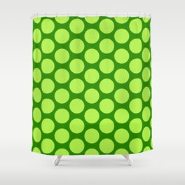 Dots Pattern 6 - Emerald, Lime, Green Shower Curtain