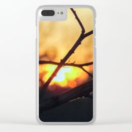 Sunset among benches Clear iPhone Case