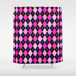 pink and black shower curtain.  Shower Curtains by Simply Chic Society6