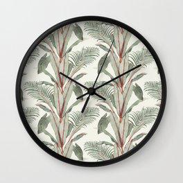 Banana Palm - Seamless Pattern - White Wall Clock