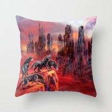 Wolves of Future Past landscape Throw Pillow
