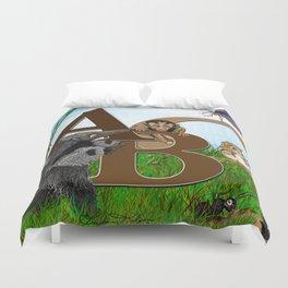 ABC nursery animal print, by Barbara Kilgore green, brown, blue Duvet Cover