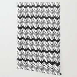 CHEVRON STRIPES - BLACK Wallpaper