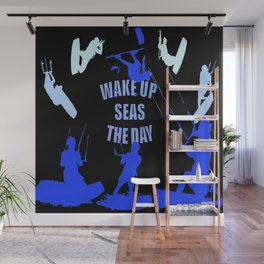 Wake Up Seas The Day Kiteboarder Royal Blue Wall Mural