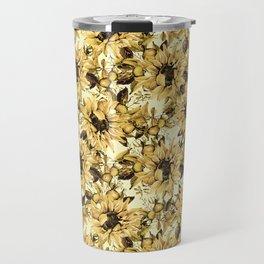 Sunflowers on Yellow Travel Mug