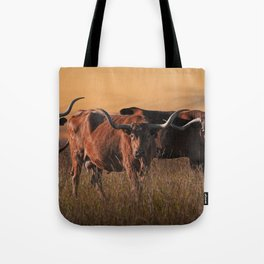 Texas Longhorn Steers on the Prairie at Sunset Tote Bag