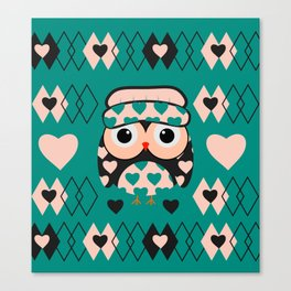Owl and heart pattern Canvas Print