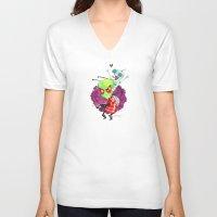 invader zim V-neck T-shirts featuring Invader Zim Hug by Super Group Hugs