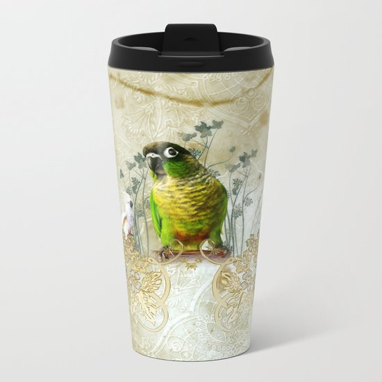 Wonderful, cute parrot Metal Travel Mug
