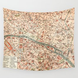 Vintage Map of Paris Wall Tapestry