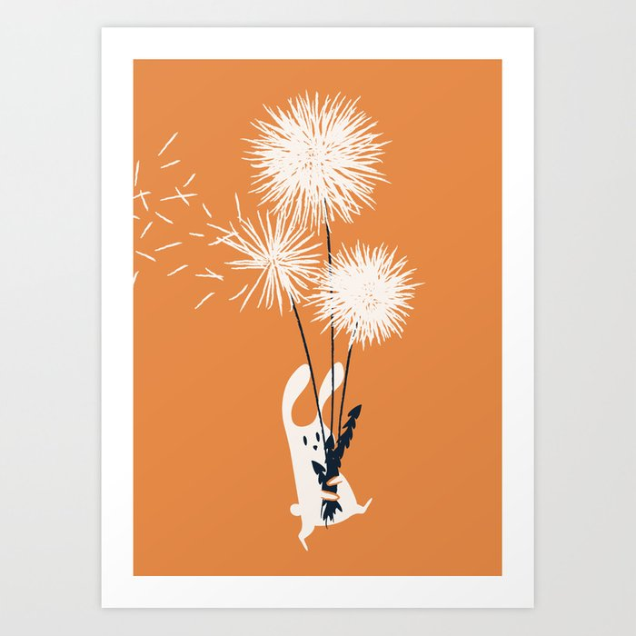 Bunny and Dandelion Bouquet Kunstdrucke
