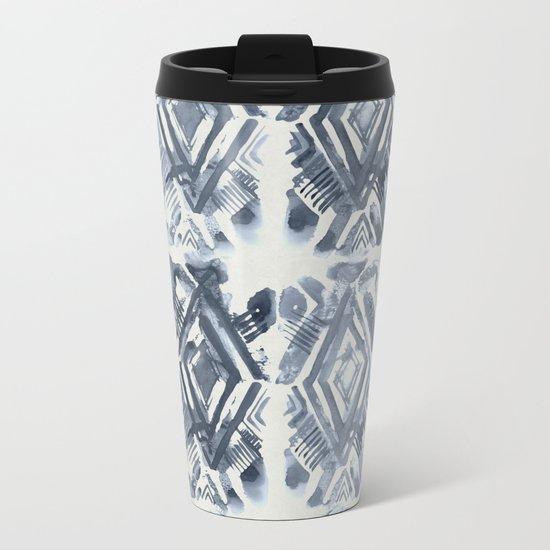 Simply Ikat Ink in Indigo Blue on Lunar Gray Metal Travel Mug