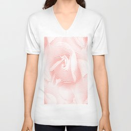 Floral coral - Romantic illusion of roses in seamless stripes Unisex V-Neck
