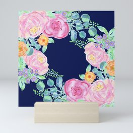 light pink peonies roses with navy background Mini Art Print