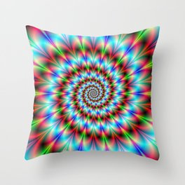 Spiral Rosette in Blue Green and Red Throw Pillow