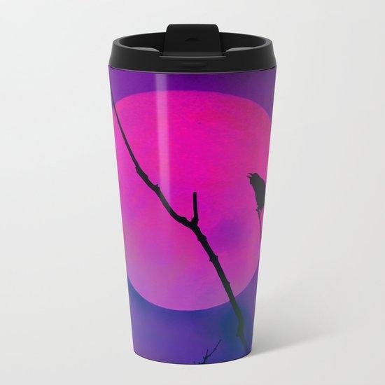 The Crow And The Pink Moon Metal Travel Mug