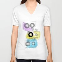 old school V-neck T-shirts featuring old school by Sara Eshak