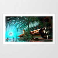 steam punk Art Prints featuring Steam Train Punk by Goodson Productions