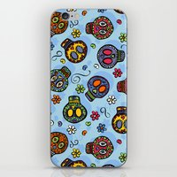 sugar skulls iPhone & iPod Skins featuring Sugar Skulls by Kara Peters