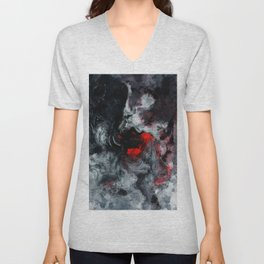 Red and Black Minimalist Abstract Painting Unisex V-Neck