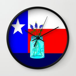 A Texas Flag and Blue Bonnets in a Jar Wall Clock