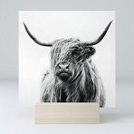 Black & White Highland Scotland Cow  Mini Art Print