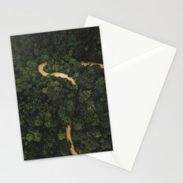 From Above Overview Of Dense Green Forest Stationery Cards