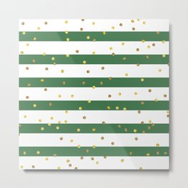Christmas White and Green and Christmas Golden confetti Metal Print