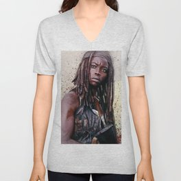 Michonne On The Walls Of Alexandria - The Walking Dead Unisex V-Neck