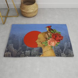 woman with birds and flowers hat Rug